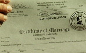 Marriage license - gay marriage