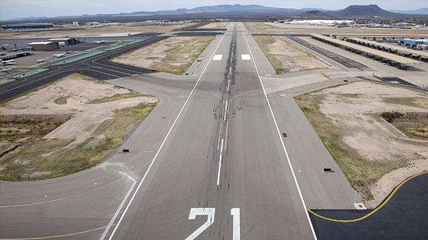 Approaching a runway at Tucson International Airport