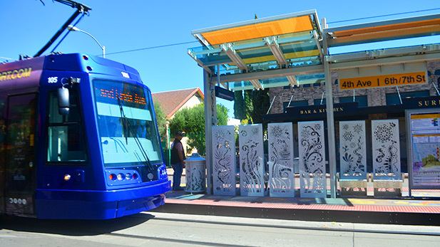 Tucson Streetcar stop on Fourth Avenue.