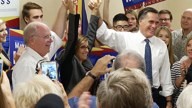 From left to right, Andy Tobin, Martha McSally and Mitt Romney.