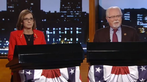 Republican Martha McSally, Democrat Ron Barber at AZPM debate Oct. 7, 2014.