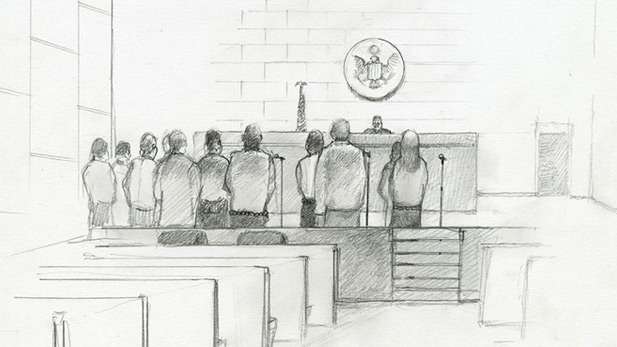 Artist Lawrence Gipe's courtroom sketches from federal hearings connected to Operation Streamline.