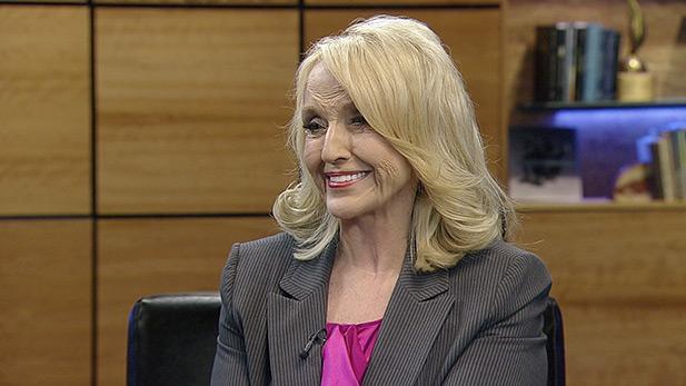 Gov. Jan Brewer in the Arizona Public Media studios during a visit November 2014.