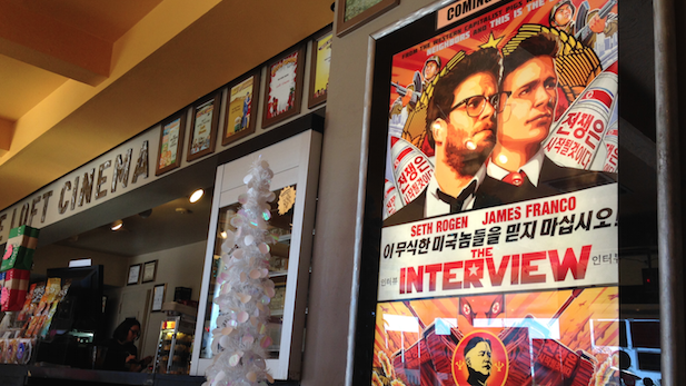 "Poster for ""The Interview"" in The Loft Cinema lobby."