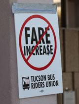 no bus fare increase sign portrait