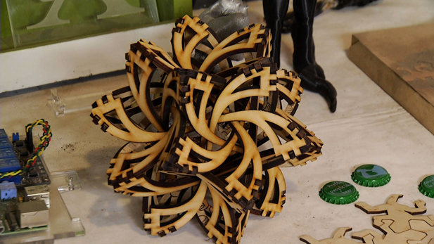 This intricate  wood sculpture is just one of the many pieces of art created at Maker House.