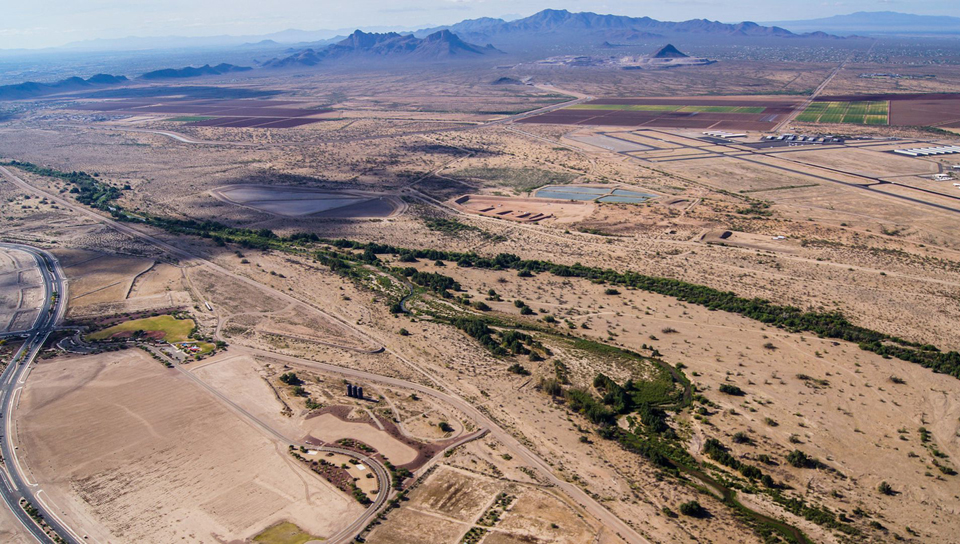 An aerial view of the Santa Cruz River near Marana.