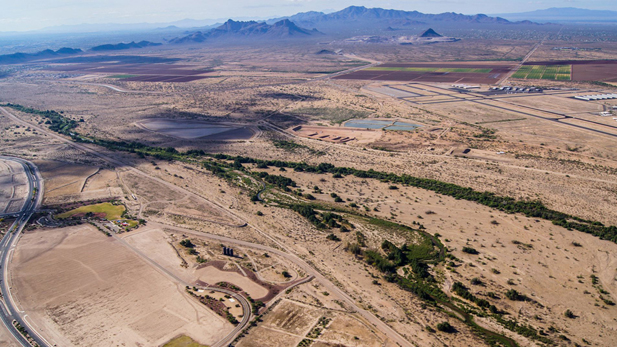 An arial view of the Santa Cruz River near Marana.