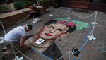 Professional artists create masterpieces with chalk at the 3rd annual Chalk Art Festival.