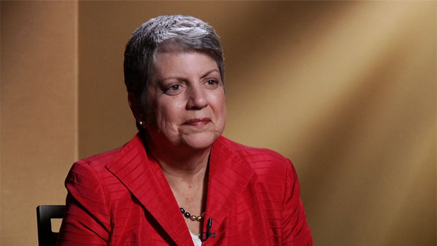 Janet Napolitano, President of the University of California, discusses her new job, the border, and life outside the Washington, DC beltway.