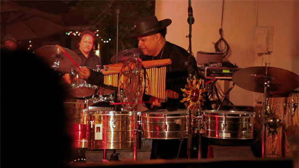"William Portela, ""Chillie Willie Groove"" percussionist, performs an eclectic mix of Latin rhythms and soul from his CD, Only the Beginning, at the Montery Court in Tucson Arizona."
