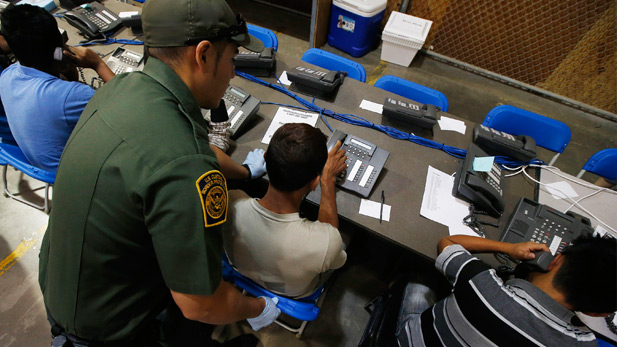 Border Patrol officials say the warehouse has 40 phones available to the kids.
