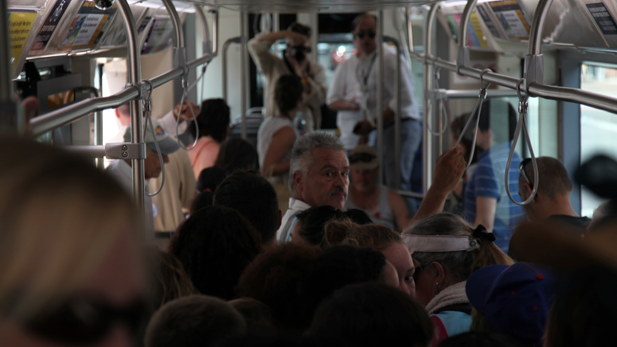 Inside the Tucson streetcar on its inaugural run, July 25, 2014.
