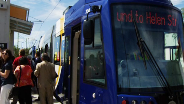 Tucson Streetcar on launching day, Friday, July 25, 2014.