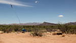 A water tank left for migrants crossing the Arizona desert.