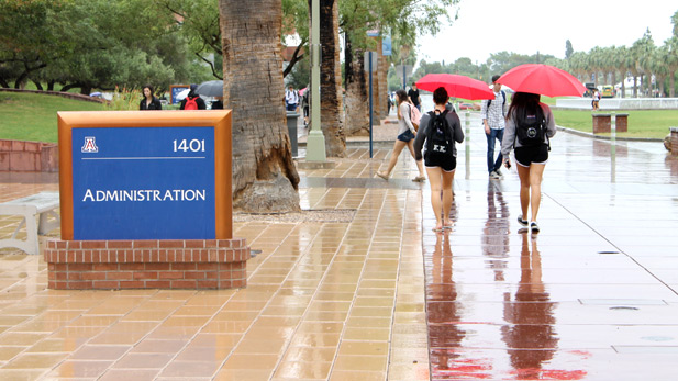 Rainfall at the University of Arizona campus.