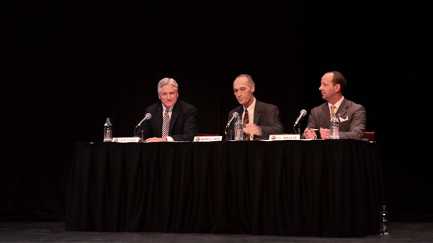 From left to right, Democrat Fred DuVal, Libertarian Barry Hess, Americans Elect John Lewis Mealer in gubernatorial forum at University of Arizona on Sept. 21, 2014. Republican Doug Ducey could not be present because of a prior commitment.