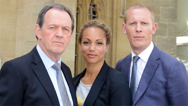 Kevin Whately as Inspector Lewis, Angela Griffin as DS Lizzie Maddox and Laurence Fox as Inspector Hathaway