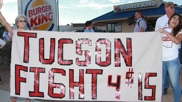Tucson fast food workers at a protest in September 2014.