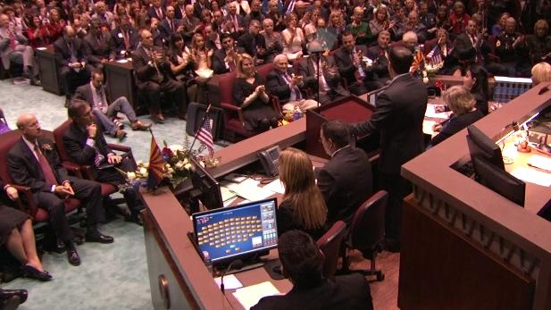 Gov. Doug Ducey addresses a joint session of the Arizona Legislature, Jan. 12, 2015.