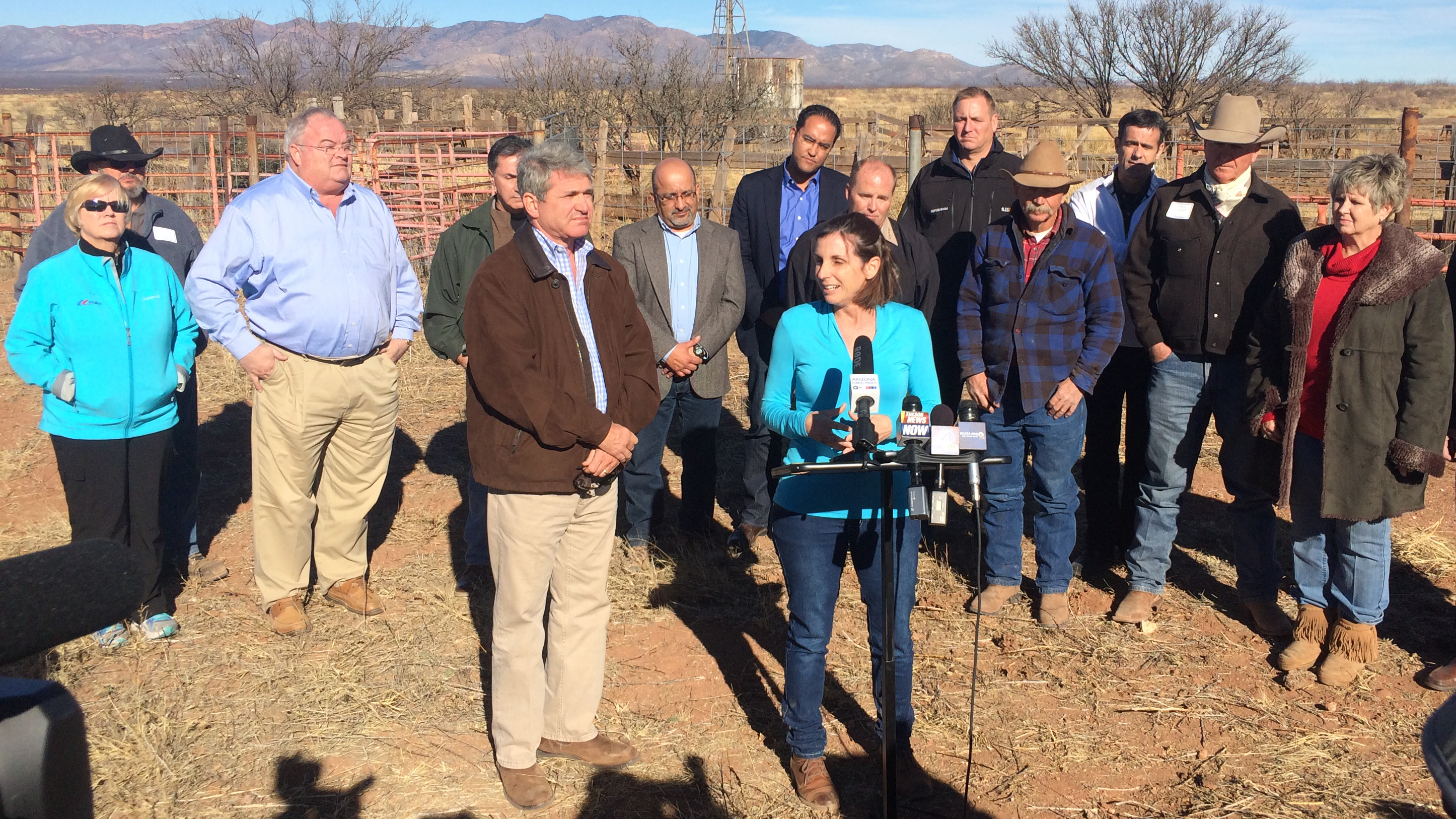 Rep. Martha McSally, R-Tucson, and members of the House Homeland Security Committee meet with members of the media on the Ladd Ranch in Sierra Vista following a border tour. January 24, 2015