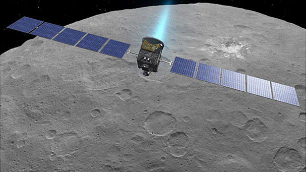 Artist rendition of Dawn spacecraft nearing dwarf planet Ceres