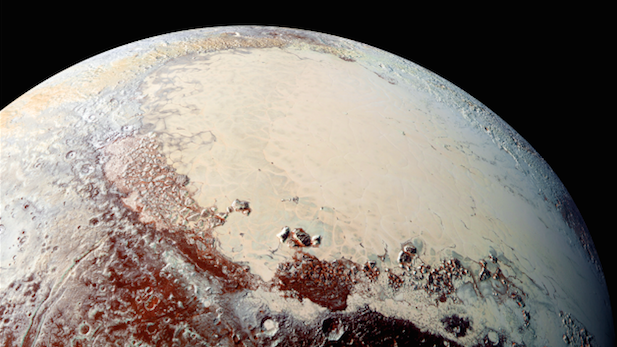 New Horizons captured this image of Pluto's glacial ice cap in July 2015.