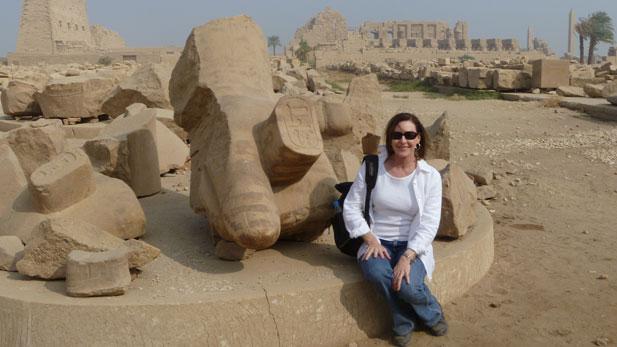 Leslie Bromberg, ARCE AZ Board Member, at Karnak temple complex in Luxor, Egypt