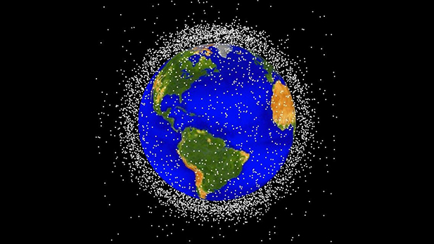 Computer generated image of objects in Earth orbit. Approximately 95 percent of the objects in this illustration are orbital debris (i.e., not functional satellites).