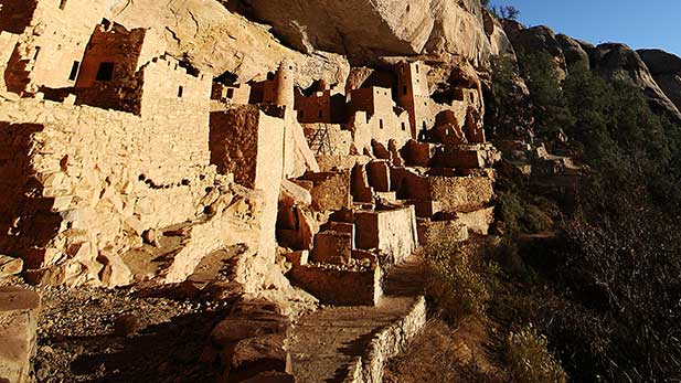 In Mesa Verde National Park, Cliff Palace was built inside a naturally formed canyon by the Ancient Puebloans.