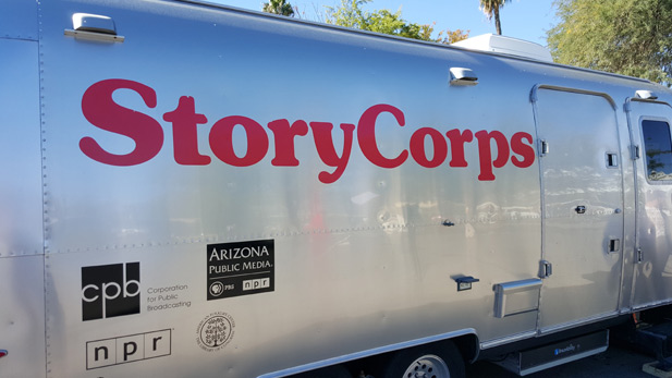 The StoryCorps trailer parked outside of Reid Park Zoo in Tucson, AZ.