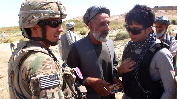 Aaron Marquez (left) and Alex (right) in Afghanistan in 2012.