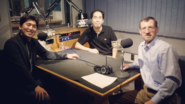 Guest conductor Keitaro Harada and composer Takuma Itoh with Andy Bade in the KUAT-FM studio.