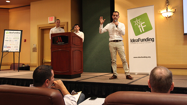 The team from digital real estate marketing firm InHouse pitches their company to the judges at IdeaFunding.