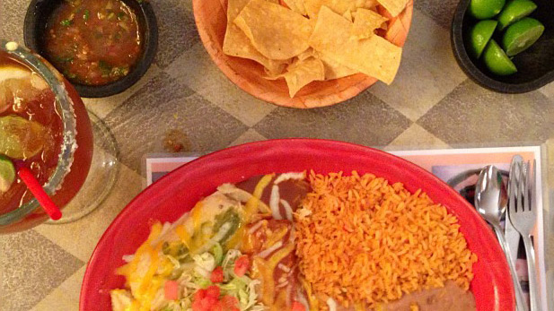 A combination platter at Rigo's Mexican Restaurant.