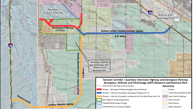 The three phases of the Sonoran Corridor project to link Interstates 10 and 19.