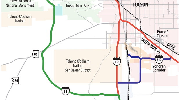 Proposed I-11 bypass west of Tucson.