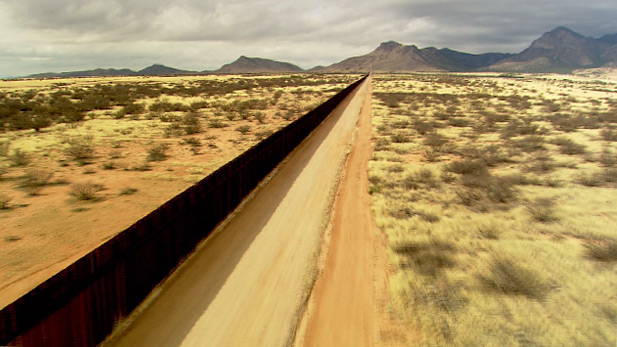 Border wall in Arizona separating the United States and Mexico.