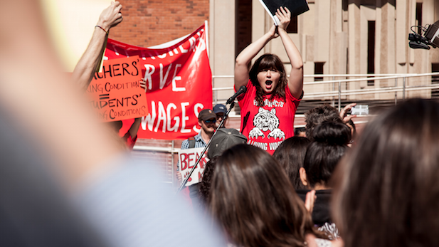 University of Arizona English lecturer Lisa O'Neill leads campus rally for better working conditions, Feb. 25, 2015.