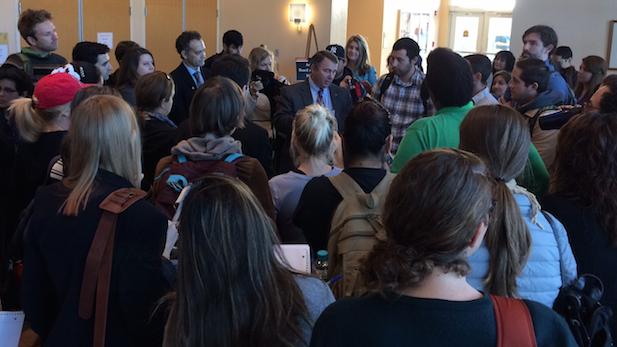 Arizona Board of Regents Chairman Mark Killian (center) meets with University of Arizona students, Feb. 5, 2015.