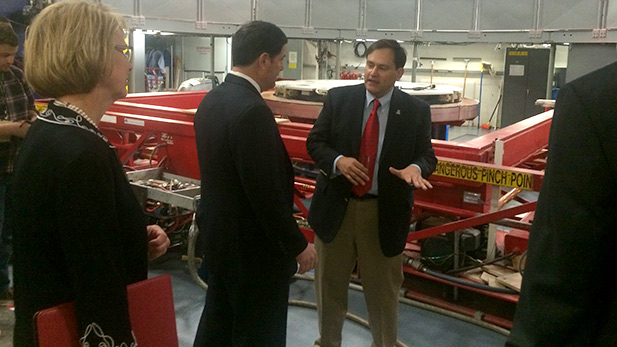 Gov. Doug Ducey tours the Mirror Lab at the University of Arizona. March 11, 2015