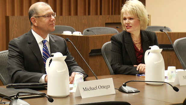 Mary Jacobs and Michael Ortega, finalists for the Tucson city manager position, answer questions during a public meeting held Tuesday, March 10, 2015.