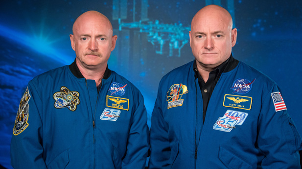 Mark and Scott Kelly before Scott's 1-year mission on the International Space Station - January 2015