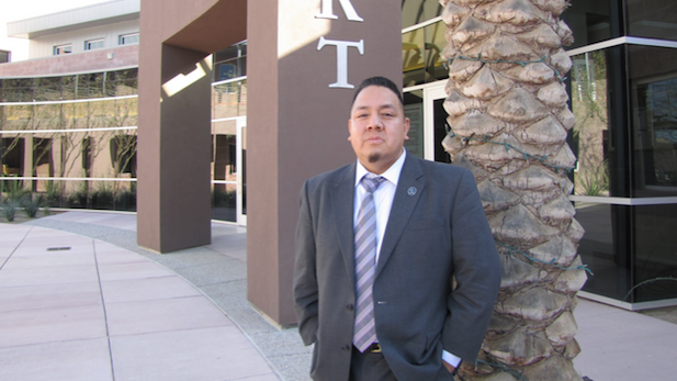 Fred Urbina, Pascua Yaqui attorney general, outside the tribe's new justice complex near Tucson.