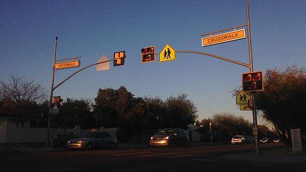 A HAWK pedestrian crossing similar to this will go along 22nd Street near Santa Rita Park.
