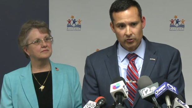 State Superintendent of Public Instruction Diane Douglas and Tucson Unified School District Superintendent H.T. Sanchez at a joint news conference, March 3, 2015.