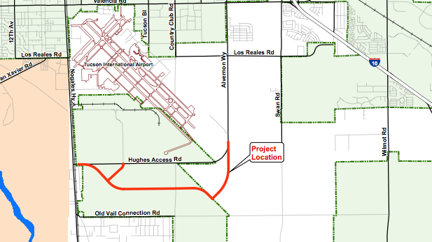 Route of Aerospace Parkway, 5-mile, $12.7 million roadway on Tucson's South Side.