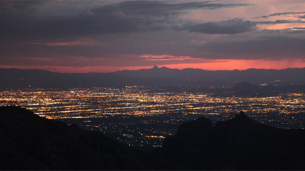 Tucson city lights at dusk