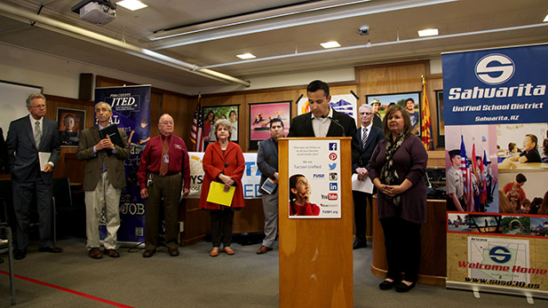 TUSD Superintendent H.T. Sanchez at joint press conference with other Pima County school leaders.