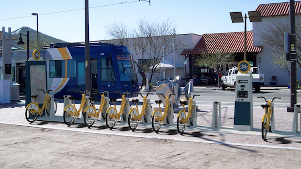Bicycle sharing station, shown at the Mercado San Agustín at west end of Tucson streetcar line.